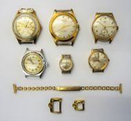A Pallas gilt metal fronted and steel backed gentleman's calendar wristwatch,