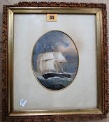 English School (19th century), Ship in full sail, watercolour and gouache, oval, 17.5cm x 13cm.