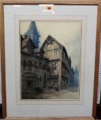English School (19th century), Joan of Arc's house at Orleans, watercolour, 36cm x 26cm.