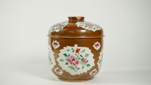 A Chinese Batavian ware famille-rose deep bowl and cover, Qianlong,