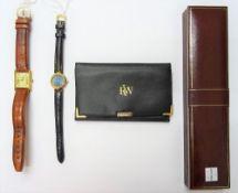 A Must de Cartier silver gilt rectangular cased tank wristwatch,