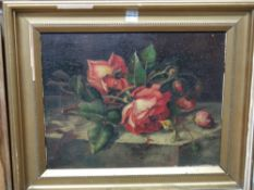 Manner J de Chirico, still life of roses, oil on board, bears a signature, 29cm x 23cm.