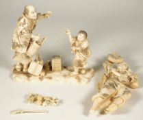 A Japanese ivory okimono group of three figures, Meiji period, signed Tadakazu, (a.f), 26cm. high.