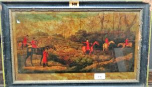 English School, circa 1800, Hunting scenes, a pair of colour transfer engravings on glass, each 24.