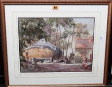 M. M. Hooper (20th century), A farmyard, watercolour, signed, 28.5cm x 39cm.
