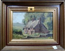 Henry Daniel (1876-1959), Cottage scene, oil on canvasboard, 10.4cm x 20cm.