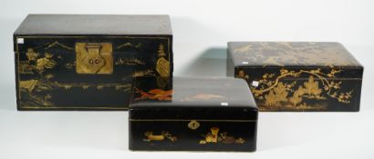 A set of three graduated Chinese wooden chests, early 20th century,