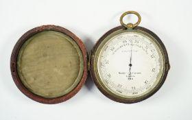 A Negretti & Zambra brass cased compensated barometer, early 20th century,