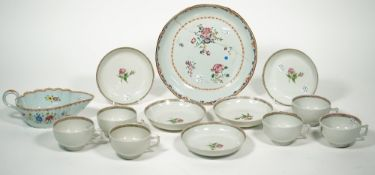 Six Chinese export famille-rose teacups and five saucers, Qianlong,