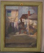 Sylvia Ketchley (20th century), Washing day, oil on canvas, inscribed on label on reverse,