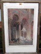 W. W. Drane (19th century), Cathedral interior, watercolour, signed and dated 1871, 44cm x 30cm.