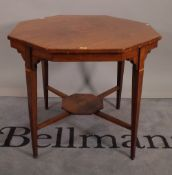 A late 19th century marquetry inlaid rosewood octagonal centre table, on tapering square supports,