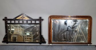 A 19th century walnut and Tunbridge banded over mantel wall mirror with bevelled glass,