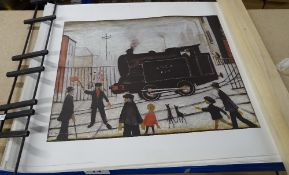 Lowry prints, comprising; The level crossing, (x9), Red Building, (x3), Dwellings, (x2).