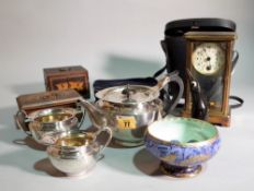 Collectables; including; a 19th century brass cased mantel clock with mercury pendulum,