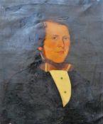 English Provincial School (19th Century), Portrait of a Gentleman, oil on canvas, unframed, 60 x 50.