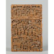 A Canton carved wood card case, late 19th century, of rectangular form,