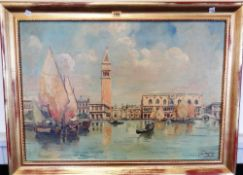 L. Montago, Venice, oil on canvas laid on board, signed and dated 1931, 47.5 x 68 cm.