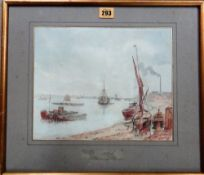 A group of five, including watercolours of low tide, Greenhithe, by G. L.