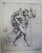 Bartolomeo Biscaino (1632-1657), Saint Jerome in the Wilderness (Bartsch 34), etching c.