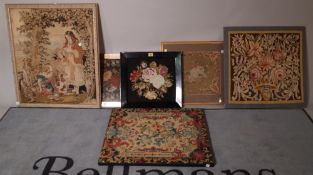 A group of five early 20th century needlework tapestries, the largest 60cm wide x 70cm high, (5).
