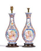 A pair of Chinese export mandarin palette vases, Qianlong,
