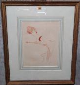 Manner of Paul-Cesar Helleu (1859-1927), A Lady of Fashion, sanguin etching, 41cm x 31.5cm.