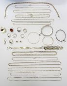 Silver jewellery, comprising; twelve necklaces and neckchains, two bracelets, four bangles,