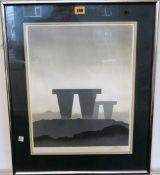 British School (20th century), Standing stones, screenprint,