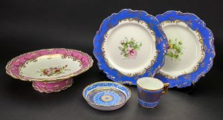 A Mintons coffee cup and saucer, classical foliate decorated in blue white and gilt, S3335,
