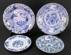 A Chinese Export blue and white deep dis