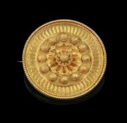A Victorian gold circular brooch, with c