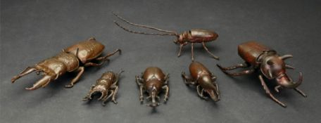 A group of six small Japanese bronze or copper models of varying types of beetle, 20th century,