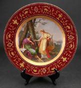 A Vienna style porcelain plate, circa 19