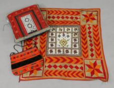 An Indian embroidered square panel,