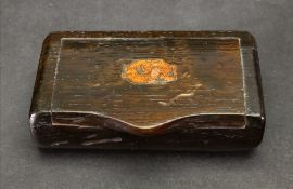 A rectangular oak snuff box, the hinged