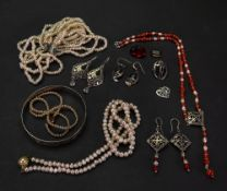 A collection of silver and costume jewel