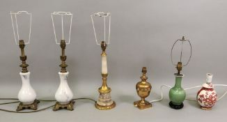 A classical style gilt metal mounted alabaster columnar table lamp and shade, 43.