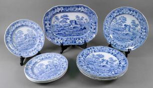 A collection of ten Spode and Copeland Italian church pattern blue transfer printed plates,