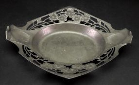 An Art Nouveau Orivit pewter shaped oval dish, with sunken centre,
