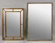A reproduction George III style rectangular marginal wall mirror,