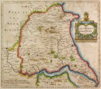 An engraved map of The East Riding of Yorkshire by Robert Morden, 35.5 x 42.5cm.