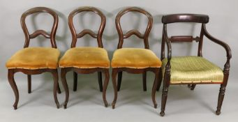A Regency mahogany open arm elbow chair, with panelled bar back, stuff over seat,