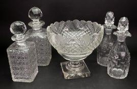 A George III style glass pedestal fruit bowl, circa 1900, fan, diamond and split cut, 21cm diameter,
