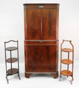 A reproduction George III style mahogany floor standing corner cabinet, by Maple,