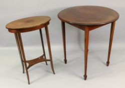 An Edwardian mahogany boxwood strung and banded oval two-tier table, 49cm wide x 32.5cm deep x 70.