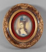 French School, Bust portrait of a noblewoman, 20th century, miniature, in late 18th century style,