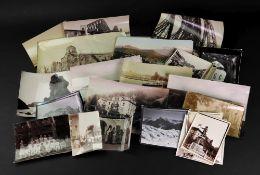 A collection of albumen photographs, 19th century, including one of Geneve - Quai du Monte-Blanc,