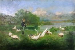 A textured reproduction colour print of a boy with geese in a landscape, 45 x 67cm.