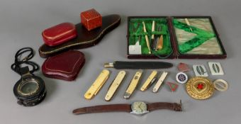 A collection of bone and ivory cased pocket knives and others, manicure and sewing tools,